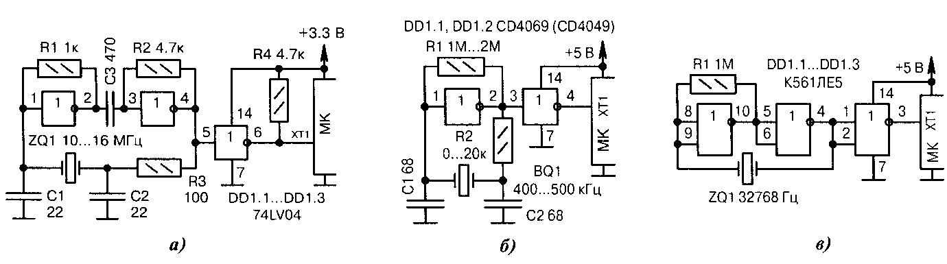 Схемы кварцевые генераторы на микросхемах